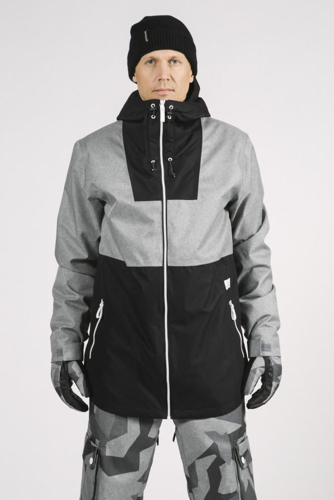 Wear colour Block Jacket, Grey Melange